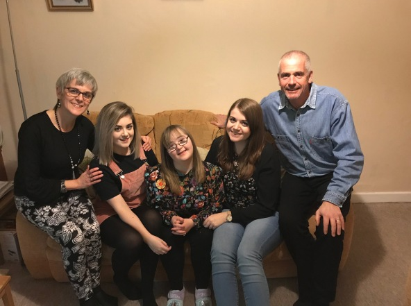 My mum, me, my litte sister, my big sister and my dad