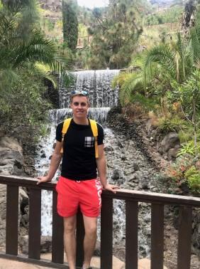 Ieu at a waterfall